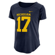 Nike University of Michigan Football Women's Navy Modern Fan Jersey Top