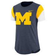 Nike University of Michigan Women's Heather Navy Triblend Fan Tee