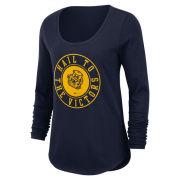 Nike University of Michigan Women's Navy College Vault Wolverine Long Sleeve Heavyweight Tee