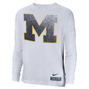 Nike University of Michigan Women's White Long Sleeve Oversized Dri-FIT Breathe Tee
