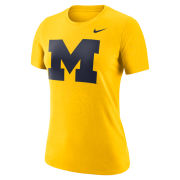 Nike University of Michigan Women's Maize Dri-FIT Cotton Block ''M'' Logo Tee