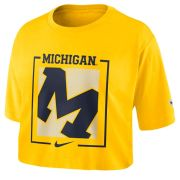 Nike University of Michigan Women's Maize Dri-FIT Cotton Crop Tee