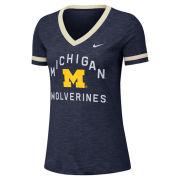 Nike University of Michigan Women's Heather Navy Dri-FIT Cotton V-Neck Slub Fan Tee