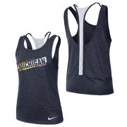 Nike University of Michigan Women's Heather Navy Dri-Fit Double Strap Tank Top