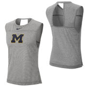 Nike University of Michigan Women's Gray Dri-FIT Breathe Tank Top