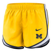 Nike University of Michigan Women's Maize Tempo Dri-FIT Shorts