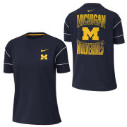 Nike University of Michigan Women's Navy Dri-FIT Breathe Fashion Tee