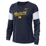 Nike University of Michigan Women's Navy Long Sleeve Dri-FIT Breathe Tee