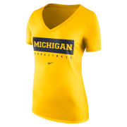 Nike University of Michigan Basketball Women's Maize Triblend V-Neck Practice Tee