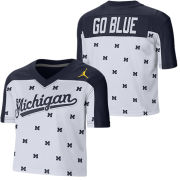 Jordan University of Michigan Football Women's White/Navy Crop Top Fan Jersey