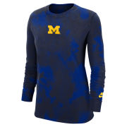 Nike University of Michigan Women's Navy Tie Dye Wash Long Sleeve Tee