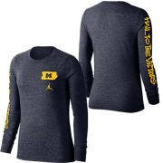Jordan University of Michigan Basketball Women's Navy ''Brushstroke'' Hail To The Victors Long Sleeve Triblend Tee