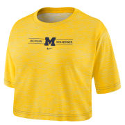 Nike University of Michigan Women's Heather Maize Dri-FIT Cotton Slub Crop Tee