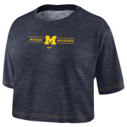 Nike University of Michigan Women's Heather Navy Dri-FIT Cotton Slub Crop Tee