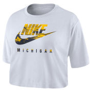 Nike University of Michigan Women's White Spring Break Futura Crop Tee