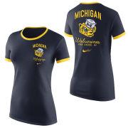 Nike University of Michigan Women's Navy College Vault Wolverine Tri-blend Ringer Tee