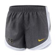 Nike University of Michigan Women's Gray Dri-FIT Tempo Shorts