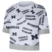 Nike University of Michigan Women's White All Over Print Short Sleeve Cropped Crewneck Sweatshirt