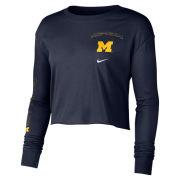 Nike University of Michigan Women's Navy Long Sleeve Crop Tee
