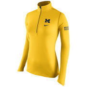 Nike University of Michigan Ladies Yellow Tailgate Element 1/2 Zip Top