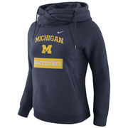 Nike University of Michigan Ladies Navy Tailgate Funnel Hooded Sweatshirt