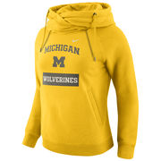 Nike University of Michigan Ladies Yellow Tailgate Funnel Hoodie