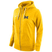 Nike University of Michigan Ladies Heather Yellow Tailgate Gym Vintage Full Zip Hooded Sweatshirt