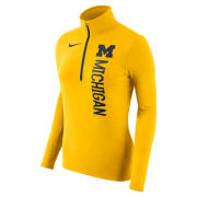 Nike University of Michigan Women's Yellow Dri-FIT Element 1/2 Zip Pullover Top