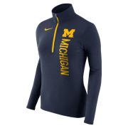 Nike University of Michigan Women's Navy Dri-FIT Element 1/2 Zip Pullover Top