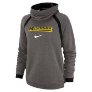 Nike University of Michigan Women's Carbon Heather Gray Dri-FIT Cowl Neck Hooded Sweatshirt