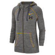 Nike University of Michigan Women's Charcoal Gray Vintage Full Zip Hooded Sweatshirt