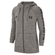 Nike University of Michigan Women's Gray Gym Vintage Full Zip Hooded Sweatshirt