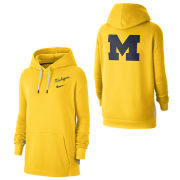 Nike University of Michigan Women's Maize/Gray Front and Back Hooded Sweatshirt