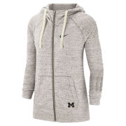 Nike University of Michigan Women's Birch Heather Gray Gym Vintage Full Zip Hooded Sweatshirt