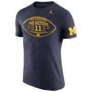 Jordan University of Michigan Football Heather Navy Triblend Moments Tee