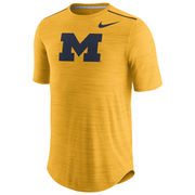 Nike University of Michigan Football Heather Yellow Dri-FIT Touch Player Tee