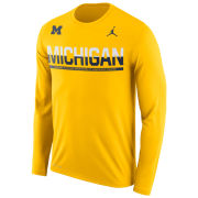 Jordan University of Michigan Football Yellow Long Sleeve Dri-FIT Legend Staff Sideline Tee