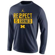 Jordan University of Michigan Navy ''Re2pect Is Earned'' Long Sleeve Tee