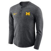 Nike University of Michigan Charcoal Heather Gray Long Sleeve Henley Shirt