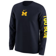 Nike University of Michigan Navy Long Sleeve Week Zero Trainer Hook Dri-FIT Legend Tee