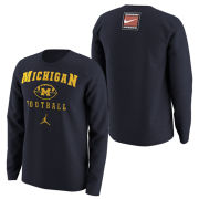 Jordan University of Michigan Football Navy Long Sleeve 1997 Throwback Tee