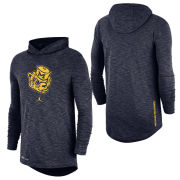 Jordan University of Michigan Basketball Heather Navy Dri-FIT Cotton College Vault Wolverine Slub Hooded Tee