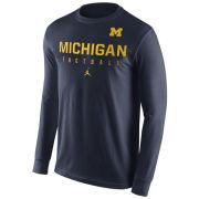 Jordan University of Michigan Football Navy Long Sleeve Practice Tee