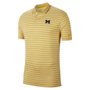 Nike Golf University of Michigan Maize/White Stripe Dri-FIT Victory Polo