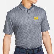 Nike Golf University of Michigan Heather Navy Vapor Micro Stripe Dri-FIT Polo