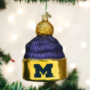 Old World Christmas University of Michigan Beanie Hat Glass Ornament
