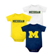 Outerstuff University of Michigan Infant 3-Pack Navy/White/Yellow Onesies