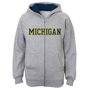 Outerstuff University of Michigan Youth Gray Full Zip Hooded Sweatshirt