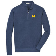 Peter Millar University of Michigan Navy Crown Comfort Interlock 1/4 Zip Pullover Sweater