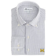 Peter Millar University of Michigan White/Navy Performance Stretch Sport Shirt